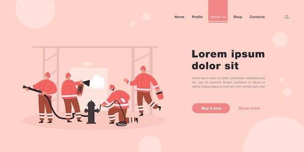 Fireman team fighting fire, rescuing people and buildings landing page in flat style