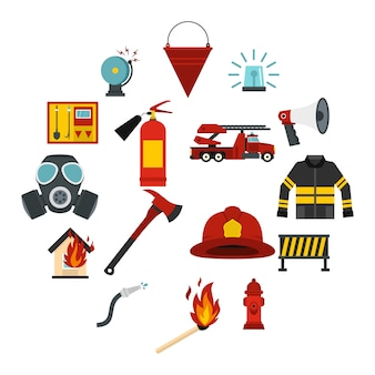 Fireman tools set flat icons