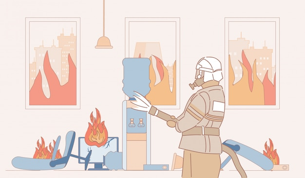 Fireman with fire extinguisher extinguish fire in office cartoon outline illustration. firefighter in burning room.