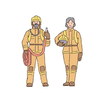 Fireman woman and man in professional protective suit. illustration in line art style on white