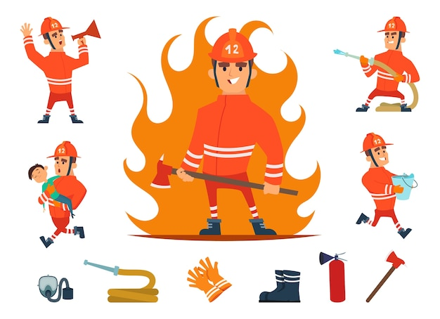Firemen and equipments. fireman profession working. cartoon tools, children and fire, hose and hydrant isolated set.