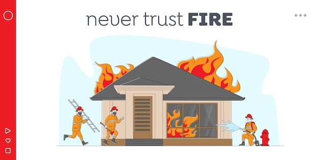 Firemen fighting with blaze at burning house. landing page template.