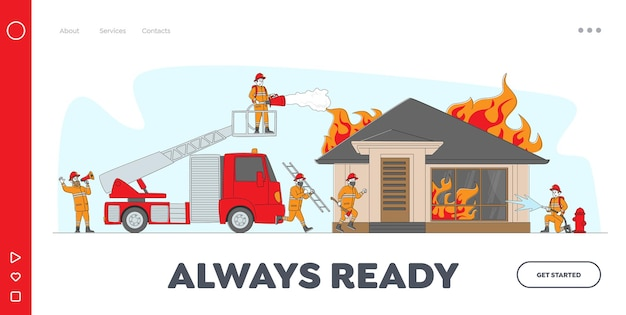 Firemen fighting with blaze landing page template.