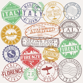 Firenze italy set of travel and business stamp designs