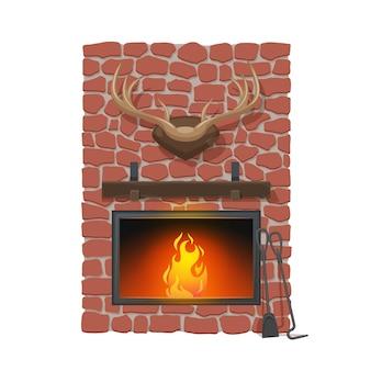 暖炉とハンティングトロフィー。ベクトル漫画の暖炉または薪の炉床。赤い石の煙突、木製のマントルピースと鹿の角、シャベルとポーカー、家のインテリアデザイン