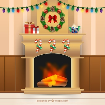Fireplace background with christmas decoration