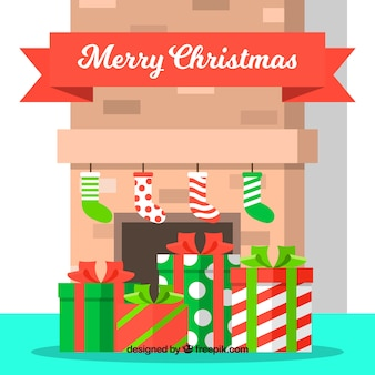 Fireplace background with gifts and socks in flat design