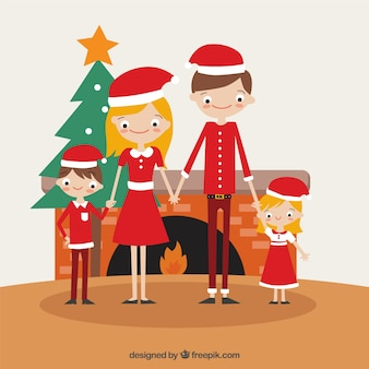Fireplace background with happy family and christmas hat