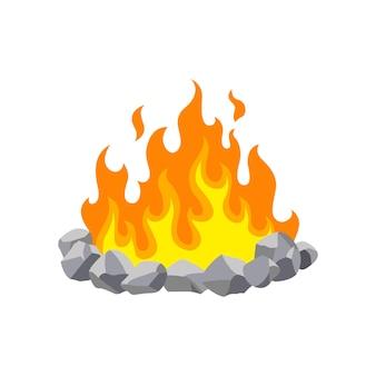 白で隔離の暖炉のキャンプファイヤー