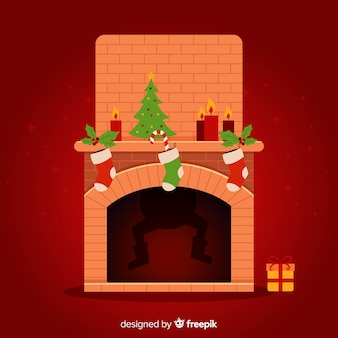 Fireplace christmas background with shadow