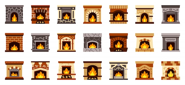 Fireplace christmas fire flat icon set, cozy home sign, xmas gift sock place .