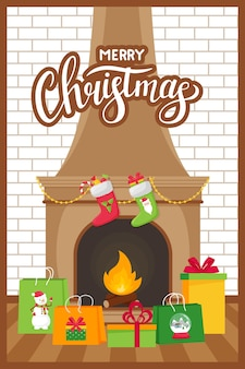Fireplace and gift bags and boxes on a white brick wall background. flat style with lettering christmas.