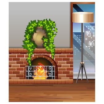リビングルームのデザインに暖炉