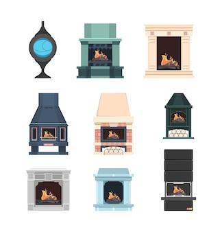 난로. 벽돌로 만든 실내 장식 전기 벽난로 집의 아름다운 불꽃은 벡터 세트를 휴식합니다. 그림 벽난로 전기 및 인테리어용 장작 굽기