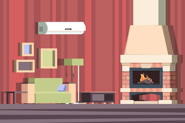 Fireplace in interior. relax with sofa in room near decorated fireplace vector cartoon background. illustration fireplace interior, firewood in room