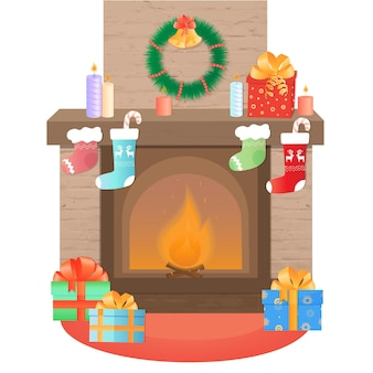 The fireplace is decorated for christmas. new years decoration.