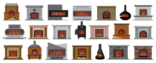 Fireplace isolated cartoon set icon.   illustration house hearth