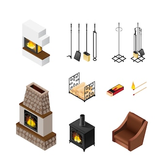 Fireplace isometric elements set