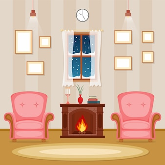 Fireplace living room family house interior furniture vector illustration
