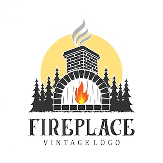 Fireplace logo vintage, for real estate and service