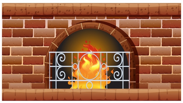 レンガで作られた暖炉