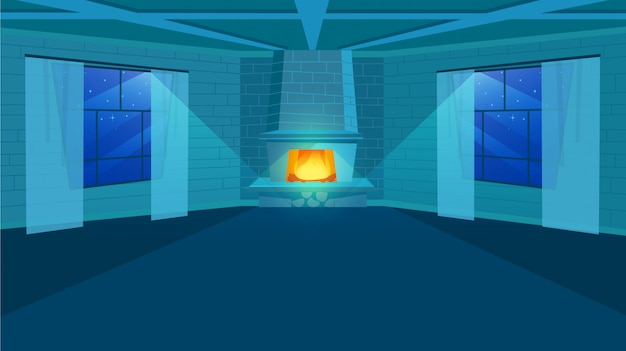 Fireplace in room flat illustration. stylized brick wall in interior design.