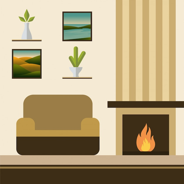 Fireplace room with sofa vector illustration