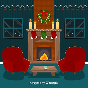 Fireplace scene christmas illustration