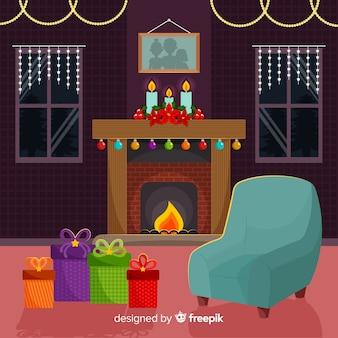 Fireplace scene christmas illustration