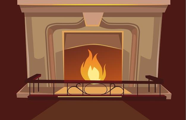 暖炉ベクトルフラット漫画イラスト