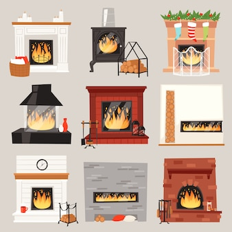 Fireplace  warm fire place in interior of home on christmas in winter to heat house illustration set of burning firewood on xmas isolated on white background Premium Vector