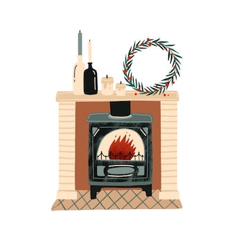 Fireplace with christmas decorations flat illustration. new year festive atmosphere