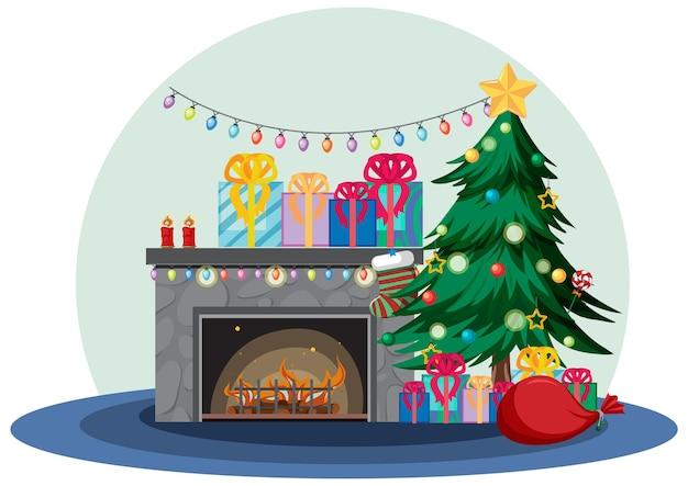 クリスマスの装飾が施された暖炉