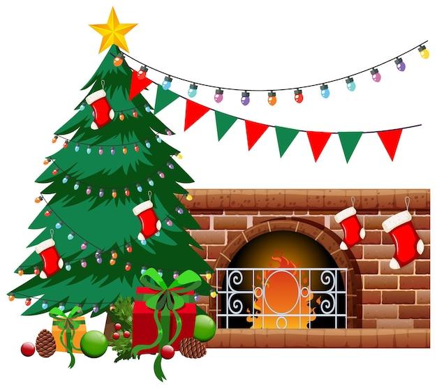 クリスマスツリーと白い背景の上のオブジェクトと暖炉