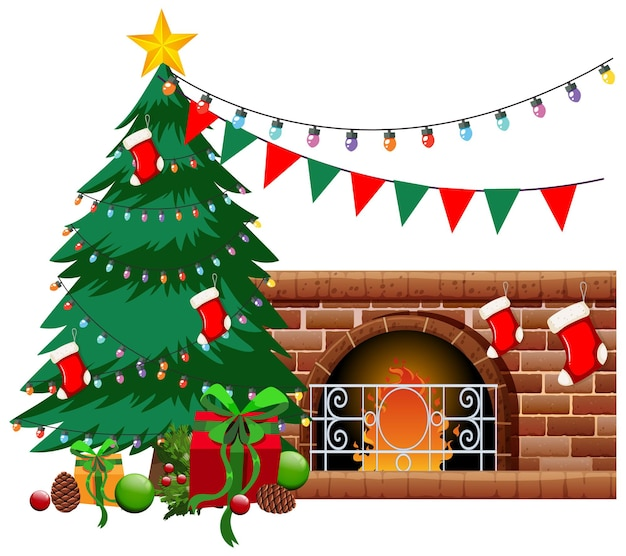 Fireplace with christmas tree and objects on white background