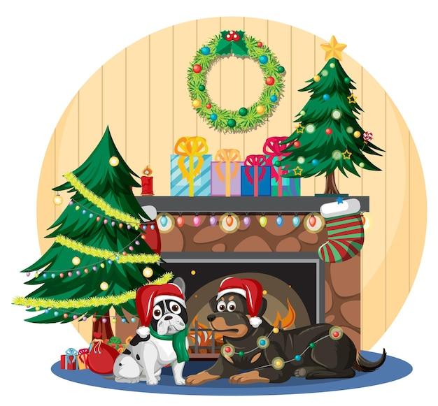 かわいい犬とクリスマスの飾りが付いている暖炉