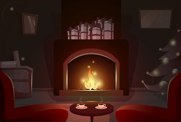 Fireplace with empty chairs, merry christmas and happy new year winter holiday concept banner