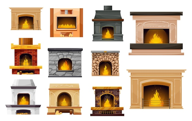 Fireplace with fire isolated icons of home and room interior design