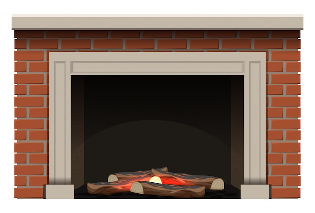 Fireplace with firewoods and little flame inside