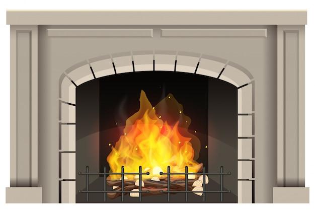 Камин с горячим огнем внутри на белом фоне