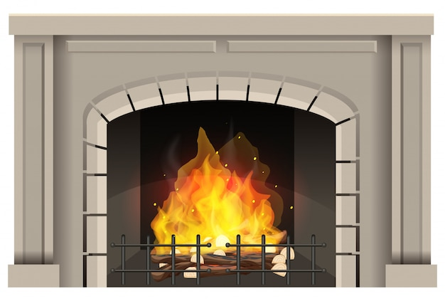 Fireplace with hot fire inside on white background