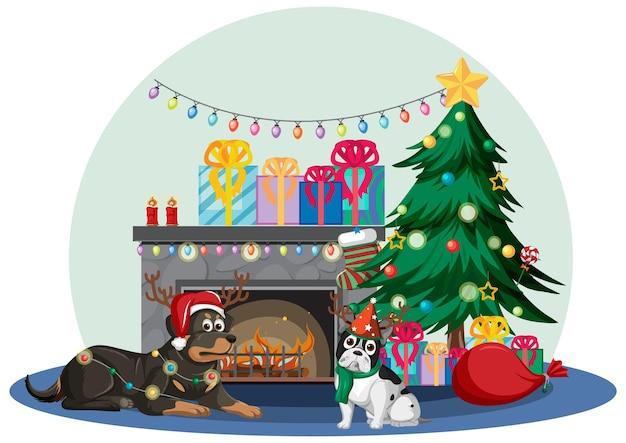 多くの犬とクリスマスの飾りが付いている暖炉