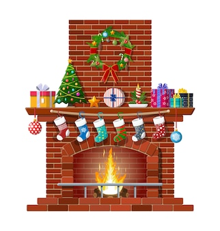 Fireplace with socks, christmas tree, candle balls gifts and wreath