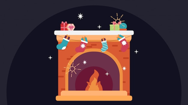 Fireplace with socks, merry christmas holiday
