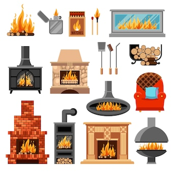 Fireplaces icons set