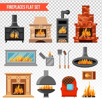 Fireplaces transparent set