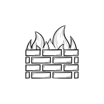 방화벽 손으로 그린 개요 낙서 아이콘입니다. 흰색 배경에 고립 된 인쇄, 웹, 모바일 및 infographics에 대 한 벽돌 벽 및 화재의 벡터 스케치 그림. 인터넷 보호, 바이러스 백신 개념입니다.