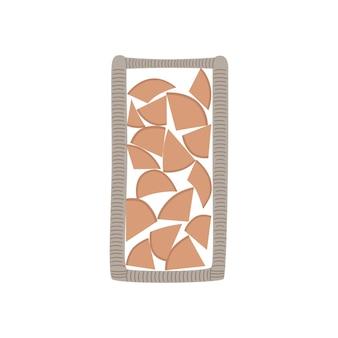 籐のスタンドの暖炉のための薪。モダンなスタイルの手描きのベクトルイラスト。