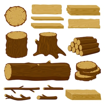 Firewood material isolated illustration