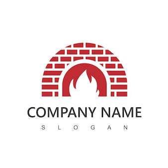 Дровяная печь и шаблон логотипа дровяной печи. пицца, ресторан символ